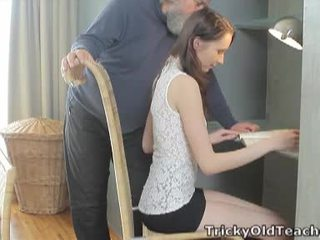 Tricky Old Teacher: Lucky old teacher fucks her sweet cunt hard.