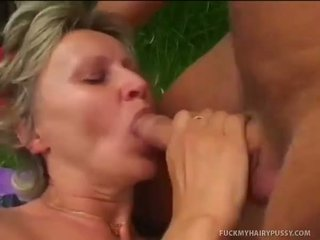 Old European Ladys Hairy Twat Serviced By Stud