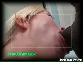 Sexy blonde babe goes crazy sucking