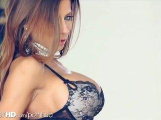 brünette, fotze, große brüste
