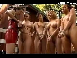 2 Slave Girls On Leads Fucking Other 2 Slaves Asshole With Electric Strapon In Doggy In The Forest