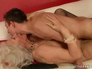 Hot busty grandma fucking a boy