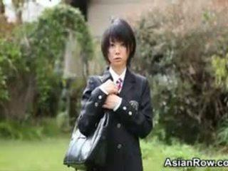 Asian Schoolgirl Shows Her White Panties
