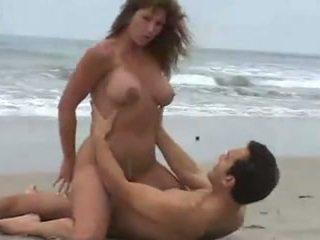 nagy mellek, strand, barnák