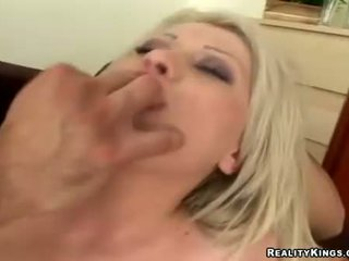 Alma Delux takes on two hard cocks filling mouth and tight ass