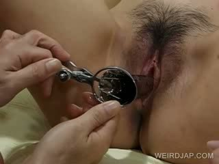 Nine months oriental gets cunt toyed in 3some