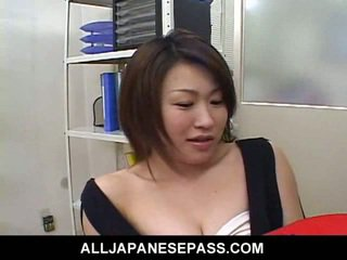 Japanese fantasy cougar in a cowgirl suit toys her puss