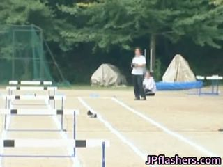 Asian Amateur Inside Without A Stitch On Track And Field Alfresco