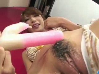 Sweet Aya Sakuraba plays with toys in rough ways