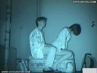 Infrared camera voyeur bench park sesso