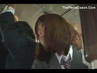 Koulutyttö has kohteeseen antaa a suihinotto sisään a bussi