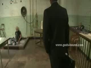 Poor gay man blindfolded and tied in hard chains and leather by nasty boy in bdsm sex video