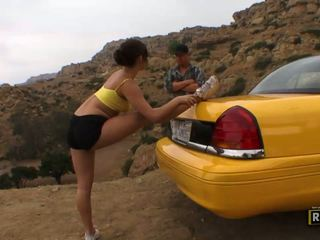 One old lucky taxi driver licking shaved Miley Ann