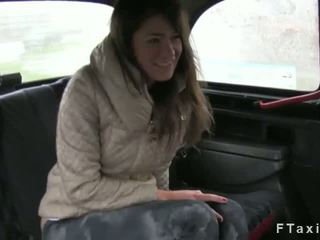 Natural hairy pussy brunette fucked in fake taxi