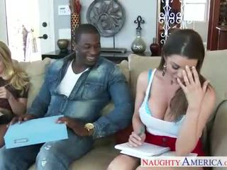 Naughty babes AJ Applegate and Brooklyn Chase lick twats and fuck a cock