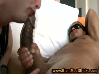 Horny interracial gay rides big cock