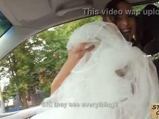 Stranded nuotaka fucks į vestuvės gown iki stranger