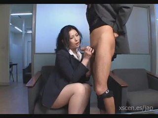 Chinami sakai יפני מזכירה gives a חם מציצות