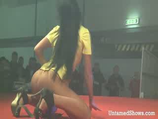 性感 女孩 takes 离 她的 outfit 和 pleases 一 角质 guy 上 该 舞台