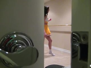 Cheerleader Holly Michaels boned on tape