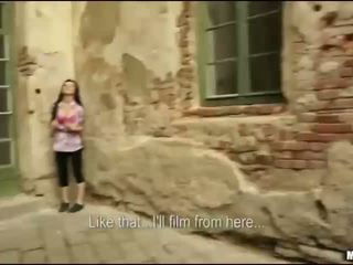Slovakian brunette fucks on castle tour