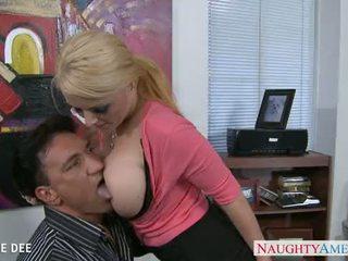 স্তন্যপান, blowjob, বড় tits