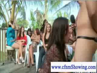 Cfnm dressed female host fucks and sucks contestants