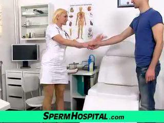 Blonde mature Dita gets cum on tits at hospital