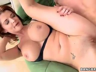 Cougar Joslyn James receives a hot reward of cock sauce after a good fuck