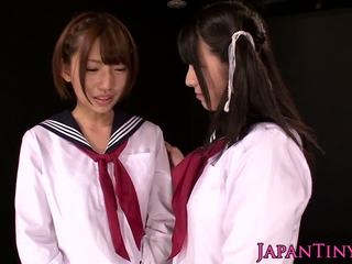 Tiny asian schoolgirls enjoy lesbian love with squirting