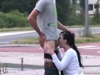 Public blowjob at a crosswalk