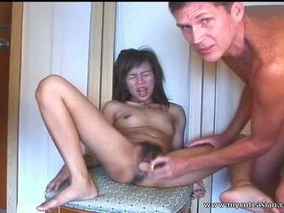 Oriental dilettante jovem grávida sucks e fucks em frente de o camera