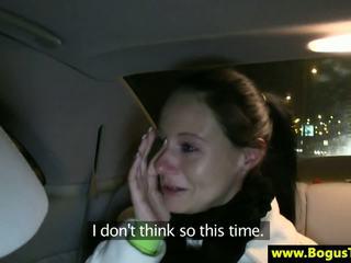 Euro brunette breaks up with her boyfriend in a taxi