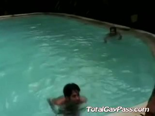 Cute buddies fuck raw by the pool