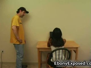Ebony Amateur Strips Her Spankable