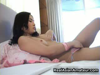 Adorable oriental amateur fucks herself