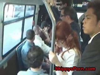 일본의 여학생 finger 엿 에 버스