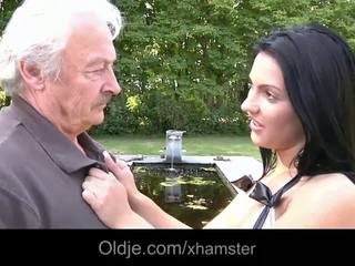 Old and silly grandpa gets to fuck dirty brunette