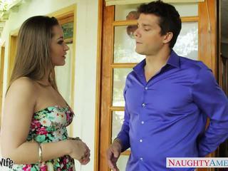 Krásný manželka dani daniels sát čurák outdoors