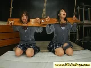 Tied upp orientaliska skola flicka gets mun cumfilled