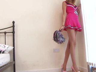 熱 拉拉隊長 strips 和 touches 她自己 在 她的 室