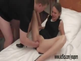 Skinny Teen Fist Fucked in Her Greedy Wrecked Pussy