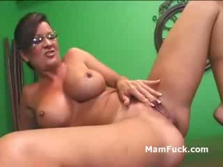 Old Perv fucks chick chick as MILF Naked brunette mommy watches