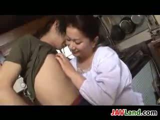 Mature Japanese Woman Sucks Cock For Cum
