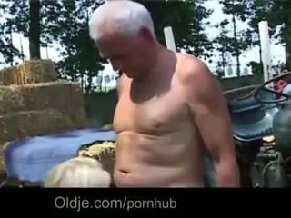 Old farmer Joe fucks hard a busty young blonde