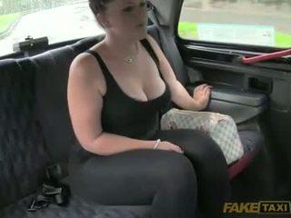brünett, blowjob, takso