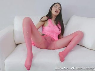 Petite Brunette Jericha Jem Clad in Pink Sheer Nylon Pantyhose Pose Tease and Fingers Her Tight Pussy