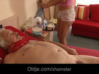 Naughty Nurse Takes Advantage of Sick Old Man Fucking