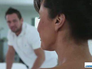 prawdziwy duży, webcam, oglądaj masaż