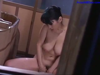 Busty Milf With Hairy Pussy Fingering Herself In The Bath